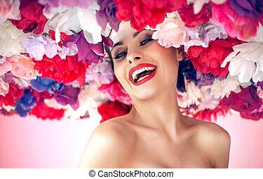 portrait, beauté, jeune, style, fleur