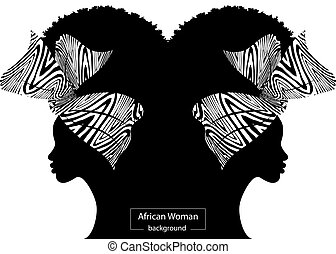 Silhouette of a beautiful African woman with a Turban and amphorae.  Traditional Kente head wrap African, colorful head scarf. Vector  illustration isolated on a white background - Buy this stock vector and