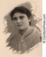 Vintage portrait of a armenian women. The shot was taken around 1956 year.