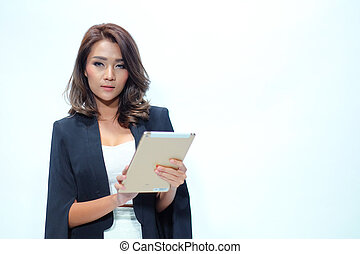 Portrait beautiful asian woman standing, Hold tablet