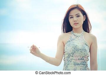 Portrait beautiful asian woman standing,