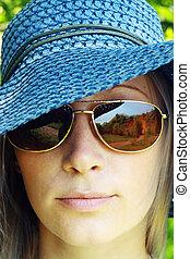 beautiful blonde girl in hat
