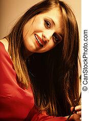 Portrait beautiful fashion woman teen girl in red dress