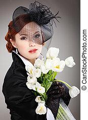 Portrait beautiful girl in retro style