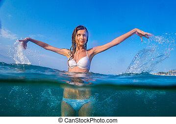 portrait beautiful girl under water white bikini in the sea.