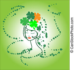 Portrait beautiful green girl Ireland shamrocks