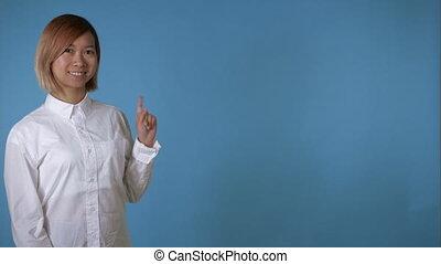 portrait beautiful korean female presenting some items -...