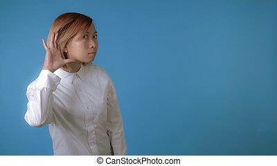 portrait beautiful korean girl shows sign listen
