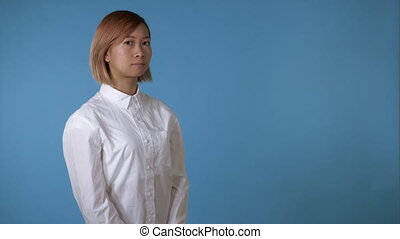 portrait beautiful korean girl shows sign listen - close up...