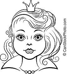 Portrait beautiful princess girl contour