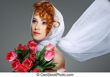 Portrait beautiful redheaded girl in retro style