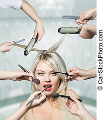 Portrait beautiful white hair girl with makeup brushes near attractive face, many hands apply make up on woman face
