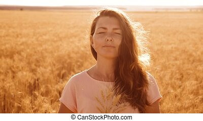 portrait beautiful woman smiling. girl fashion model in slow...