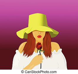 Portrait beautiful woman wearing a hat, wearing a white shirt In the hand holding a red rose The background is purple.