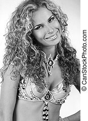 Portrait beautiful woman with curly hairstyle