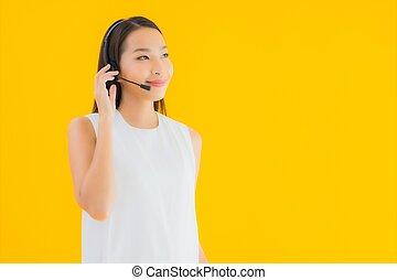 Portrait beautiful young asian woman callcenter