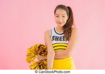 Portrait beautiful young asian woman cheerleader
