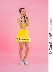 Portrait beautiful young asian woman cheerleader