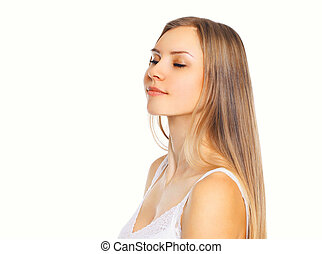 Portrait beautiful young woman enjoying with closed eyes isolated on white background