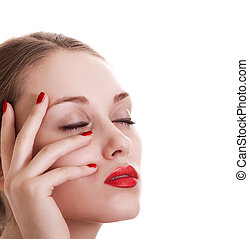 portrait beauty woman with red bright manicure on white background