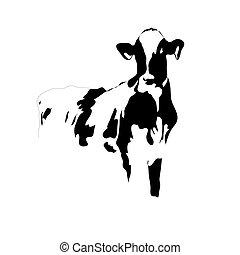 Portrait big black and white cow vector - Portrait of a big...