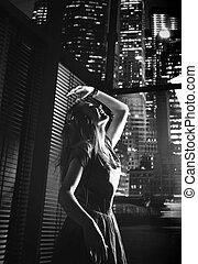 portrait, black&white, dame, danse