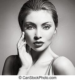 portrait, black&white, dame, jeune