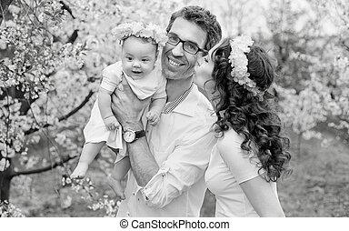 portrait, black&white, famille, heureux