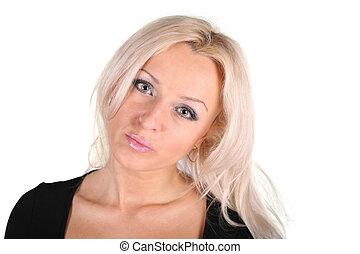 portrait, blanc, femme, blonds