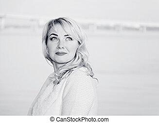 portrait, blanc, noir, woman.