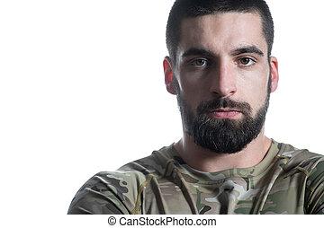 portrait, blanc, soldat, fond