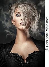 portrait, blond, beauté