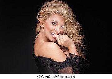 portrait, blond, beauté, sensuelles, woman.
