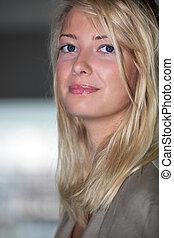 portrait, blond, femme