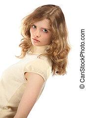 portrait, blond, jeune, beauté