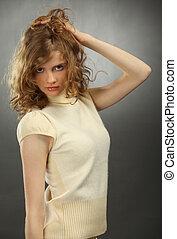 portrait, blond, jeune