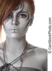 portrait body art girl silver mask