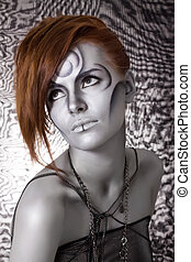 portrait body art red girl silver