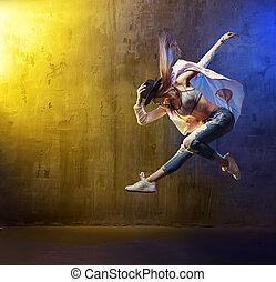 portrait, bond branché, danseur, jeune