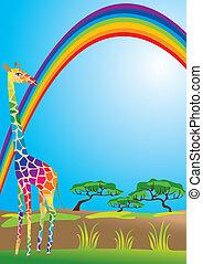 Portrait border with rainbow