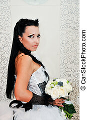 portrait bouque of a young beautiful bride  a wedding