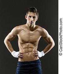 portrait, boxeur, dénudée, court, moitié