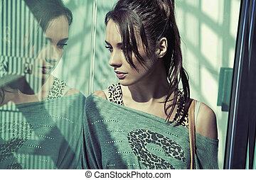 portrait, brunette, beauté