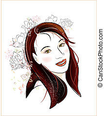 portrait  brunette girl with flowers
