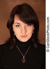 portrait, brunette, joli