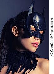 portrait, brunette, masque, charmer, girl, batman