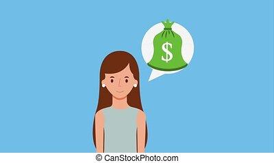 portrait brunette woman money bag speech bubble animation hd