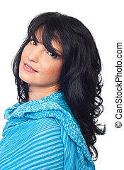 Portrait  brunette woman with soft smile