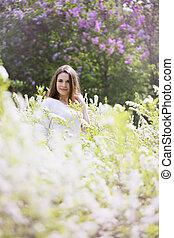 portrait, buisson, blanc, girl