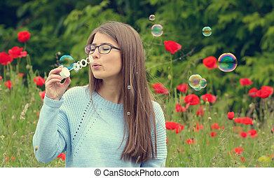 portrait, bulles, jeune fille, savon